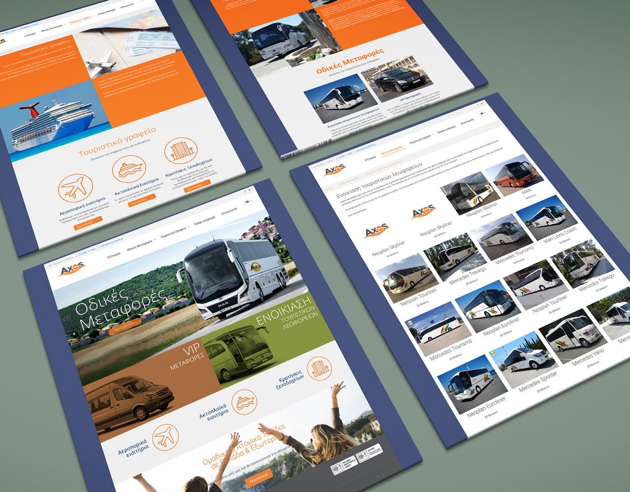 Axos Travel ενοικίαση τουριστικών λεωφορείων, τουριστικό γραφείο κατασκευή ιστοσελίδας