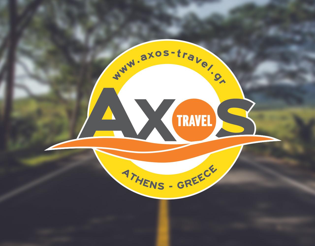 Axos Travel ενοικίαση τουριστικών λεωφορείων, τουριστικό γραφείο σχεδιασμός λογοτύπου